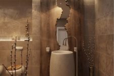 13 a stone sink, a wooden wall with a mirror inside add texture and luxury to the bathroom