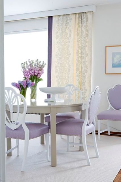 delicate lavender upholstery dining chairs with white look cute