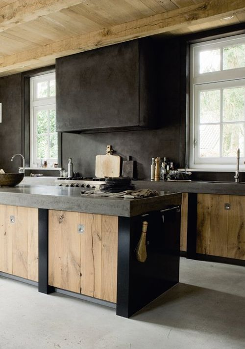 modern black metal and light-colored wooden cabinets