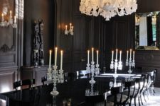 14 a vintage dining space with a gorgeous large crystal chandlier in white