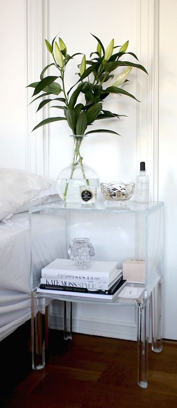 acrylic nightstand with a lot of storage space