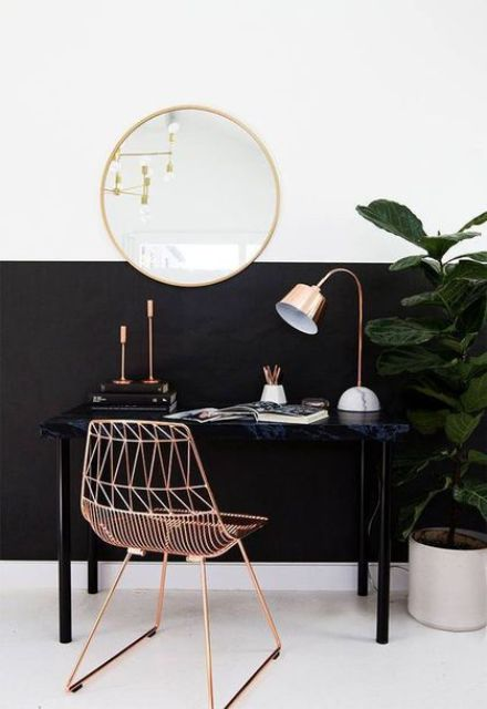 modern copper table lamp with a marble base for a girlish home office