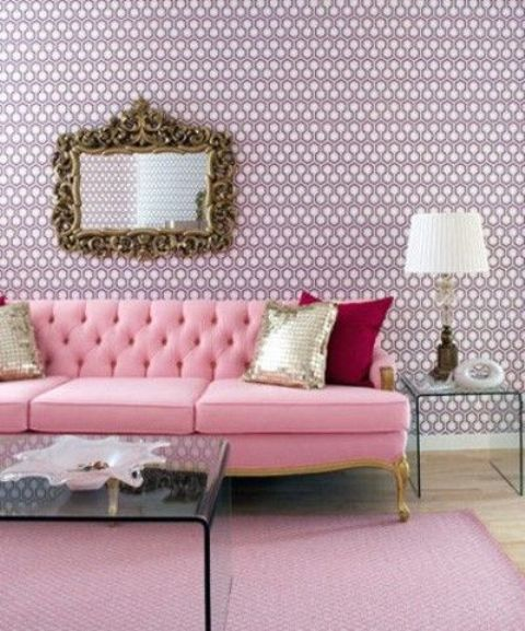 refined pink dimaond upholstery sofa for a lady-like space