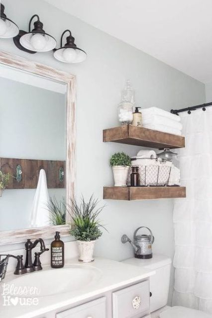 35 floating shelves ideas for different rooms digsdigs for Wooden bath shelf