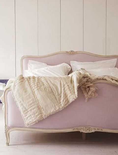 refined lavender colored bed with gorgeous details