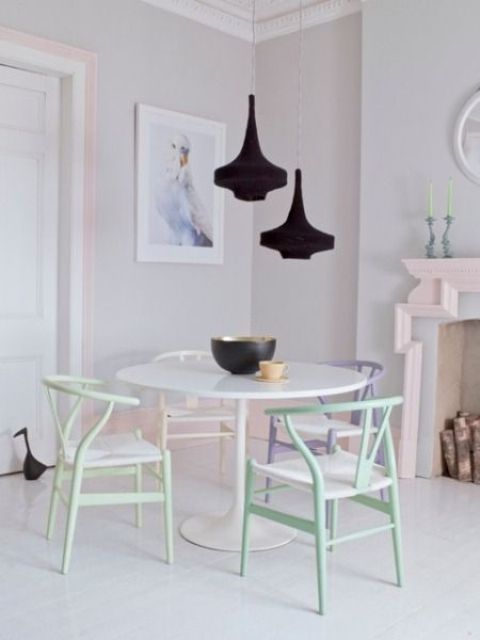 simple pastel colored dining chairs look soft and delicate