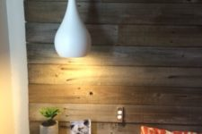 16 modern white bedside pendant lamps look contrasting with a reclaimed wood wall