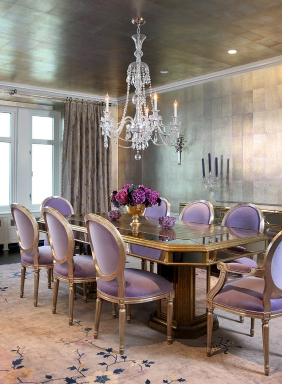 a refined dining room with lavender upholstery chairs