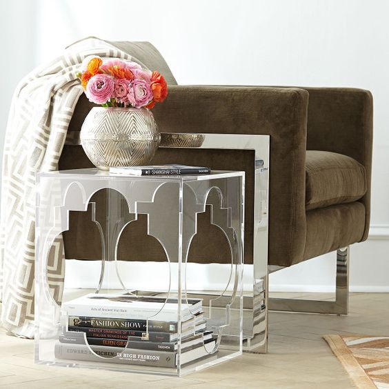 cutout acrylic side table with storage space inside