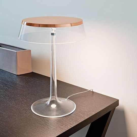 elegant modern lamp of copper and sheer glass