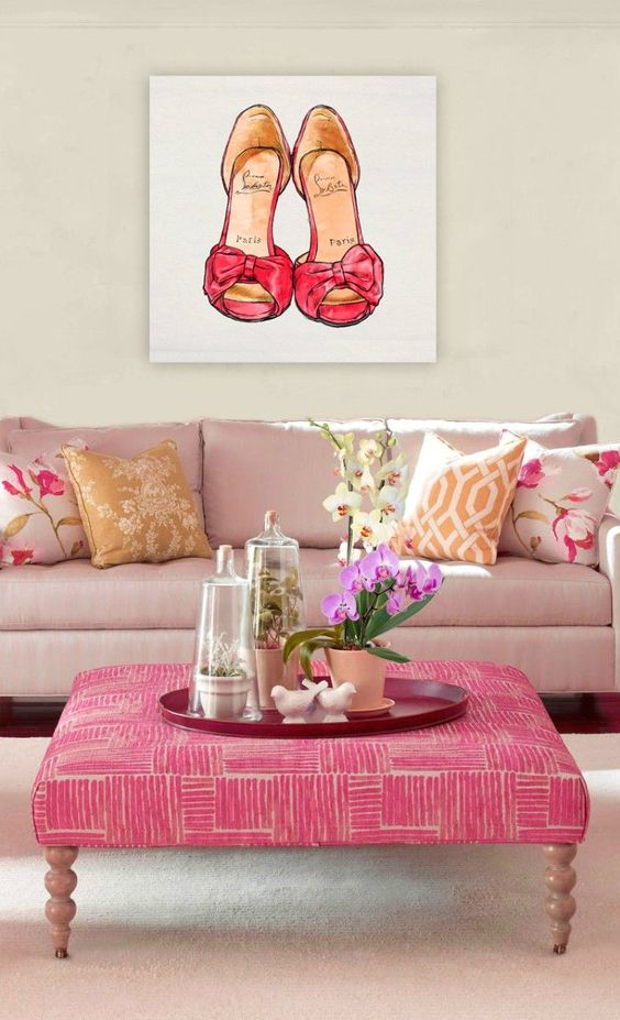pink upholstered ottoman and coffee table in one