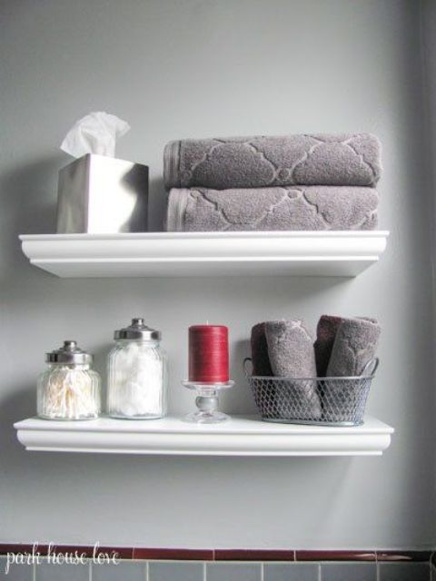 35 floating shelves ideas for different rooms digsdigs for Bathroom shelves design