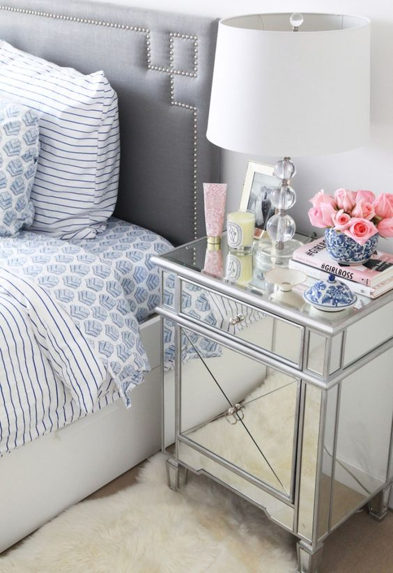 a mirrored nightstand is a cool idea for a modern girlish bedroom