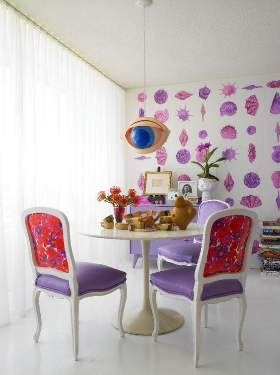 purple and floral chairs for a surreal space