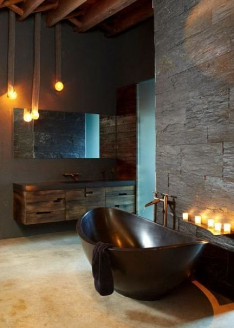 a stone bathtub is a great solution for any masculine interior