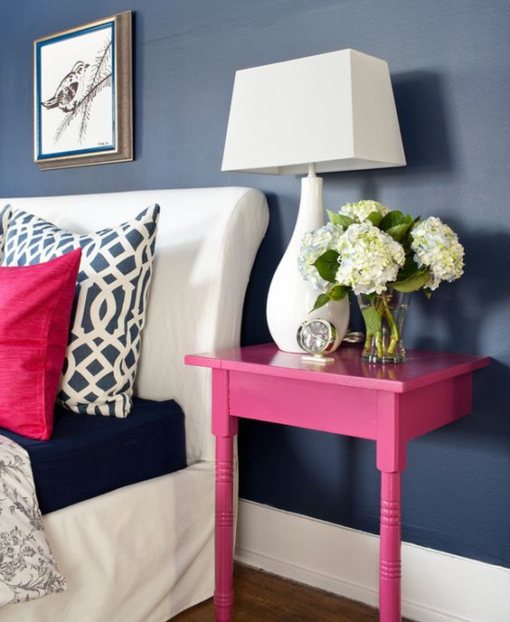 DIY hot pink nighstand made of a half of table
