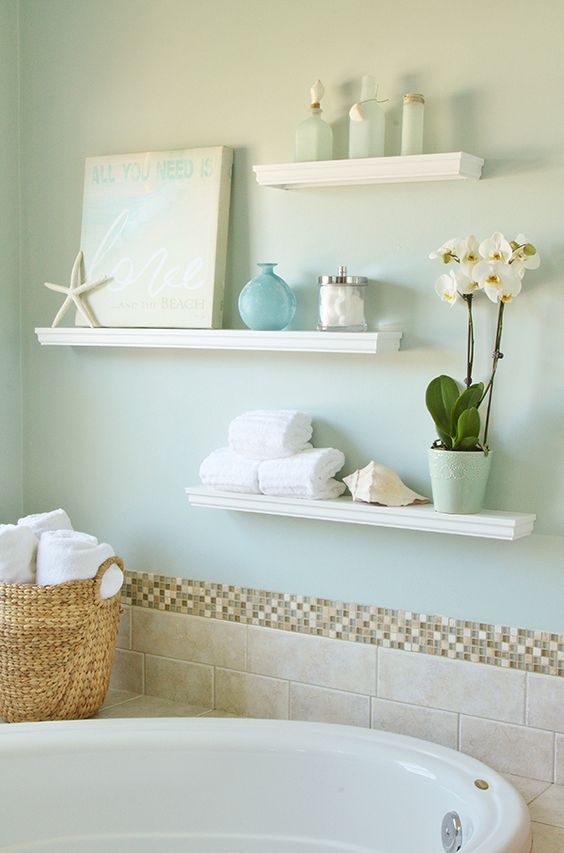 floating display shelves for a beach-inspired bathroom