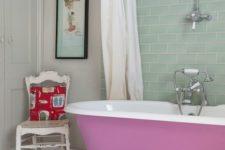 21 painted pink tub on white legs for a cute feminine bathroom