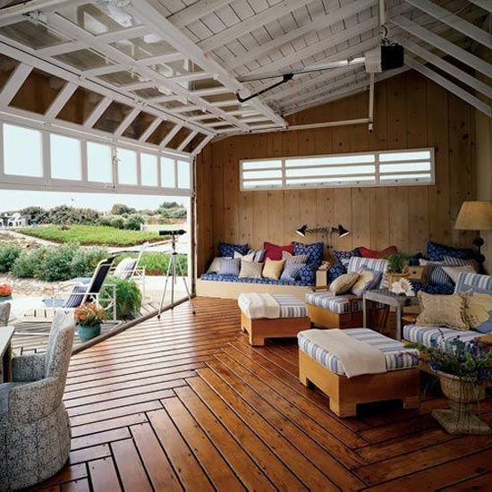 26 glass garage door ideas to rock in your interiors for Living room garage