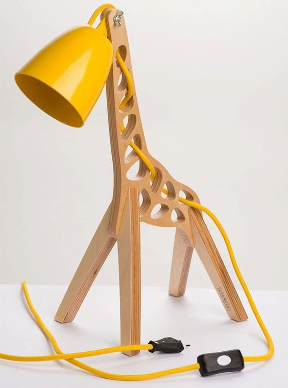 wooden giraffe table lamp with sunny yellow details