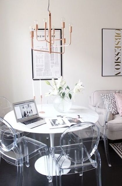 a glam gilded chandelier make this space girlish