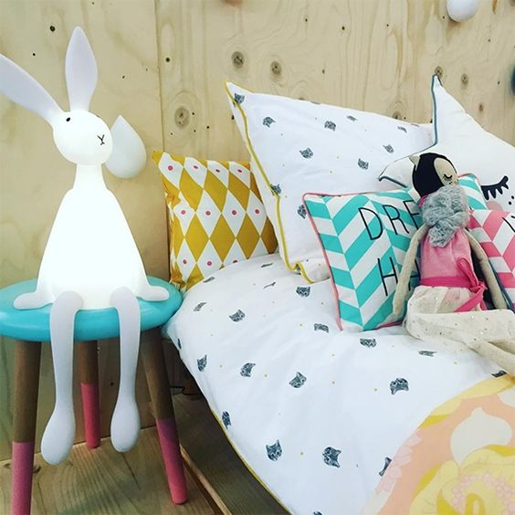 sitting bunny lamp is a great companion for kids and they will comfortable with it by the bed