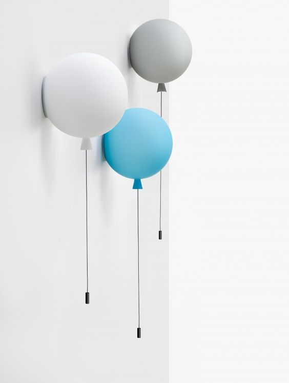 colorful balloon lamp combo on the wall