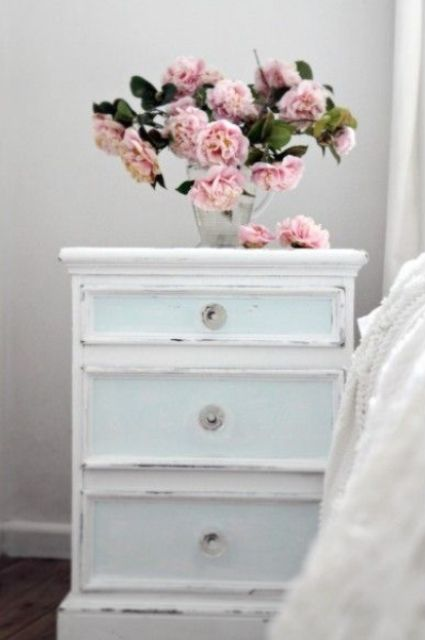 shabby chic light blue nightstand with drawers looks very delicate