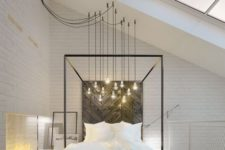 24  a gorgeous bulb combo over the bed looks chic and adds an industrial feel