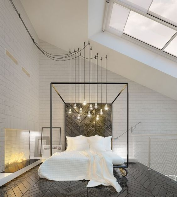a gorgeous bulb combo over the bed looks chic and adds an industrial feel