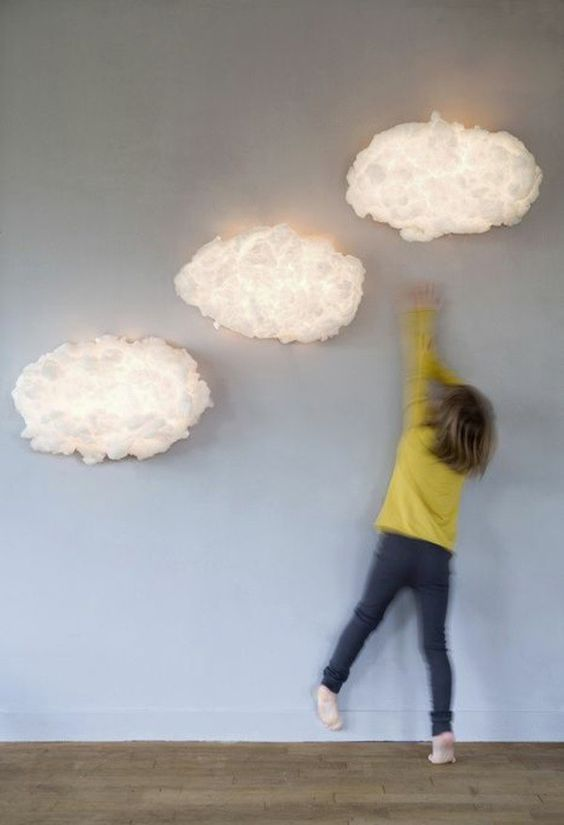 fluffy cloud combo for a kids' room wall