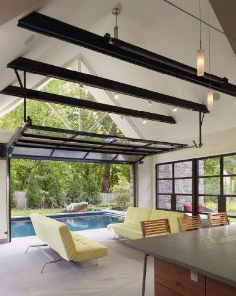 glass garage doors for opening out to the screen porch