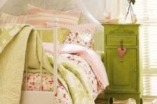 24 sage green vintage bedside table for a romantic and cute bedroom