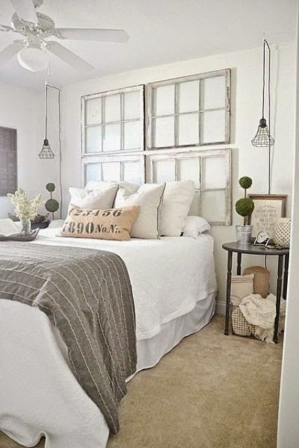 industrial black framed hanging lamps for a shabby chic bedroom