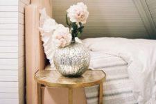25 vintage metal gilded nightstand for a girlsh bedroom