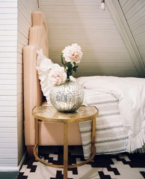 vintage metal gilded nightstand for a girlsh bedroom