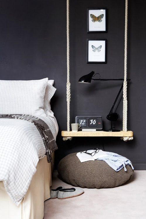 bedside swing table with thick rope looks rather manly