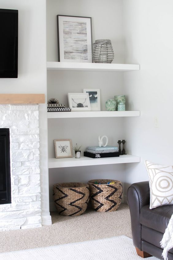 White Floating Shelves In A Niche Are A Great Idea For A Modern Living Room Part 46