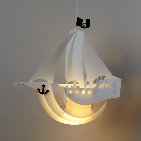a pirate ship pendant lamp for a sea-inspired boys' room