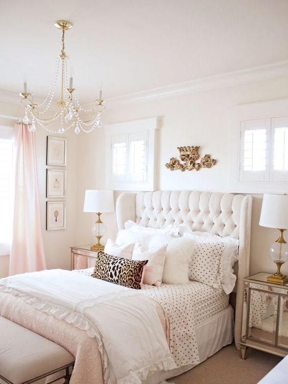 a refined crystal chandelier will easily bring a cool feminine vibe to your bedroom
