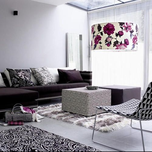 an oversized floral lampshade will easily add a feminine feel to your living room