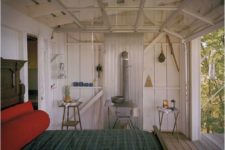 27 tiny cabin bedroom with a roll up garage door to feel almost outside