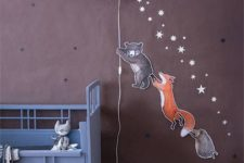 28 a star in the starry sky wall lamp with funny animal stickers