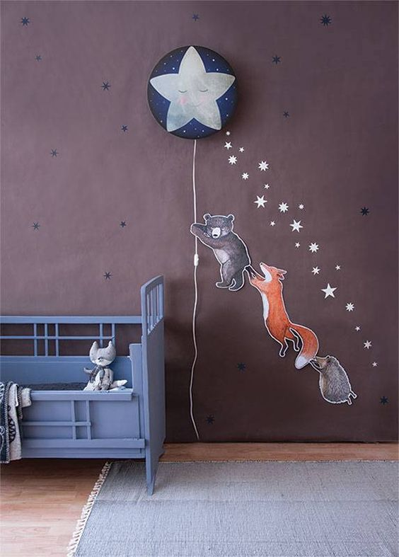 a star in the starry sky wall lamp with funny animal stickers