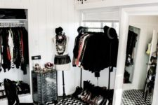 28 black glam chandelier with beads and candle-inspired bulbs for a black and white closet