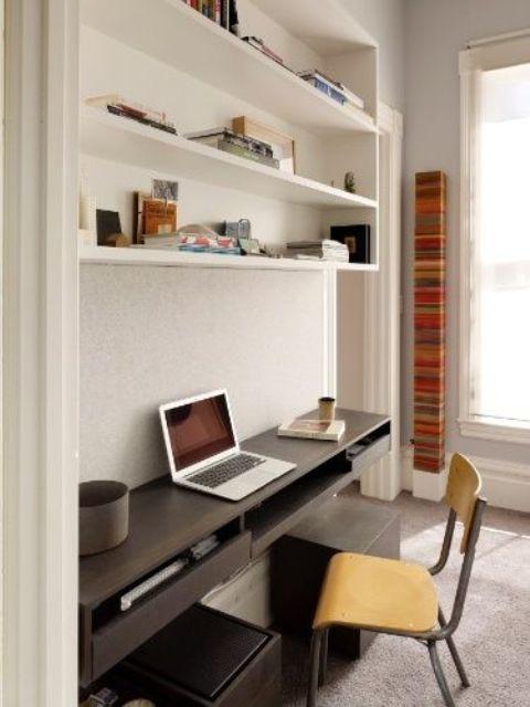 open shelving above the desk is a comfy idea