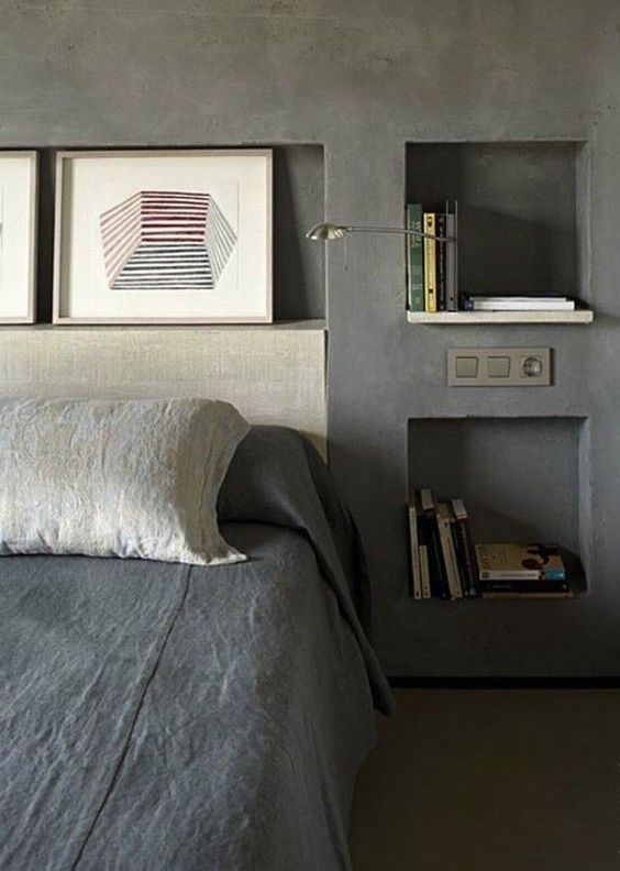 who needs bedside tables when you can have built-in storage in the walls (btw, masculine bedding is also important)