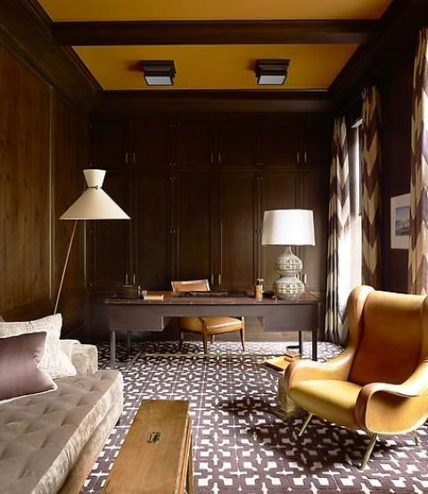 a white floor mid-century modern lamp highlights the decor style