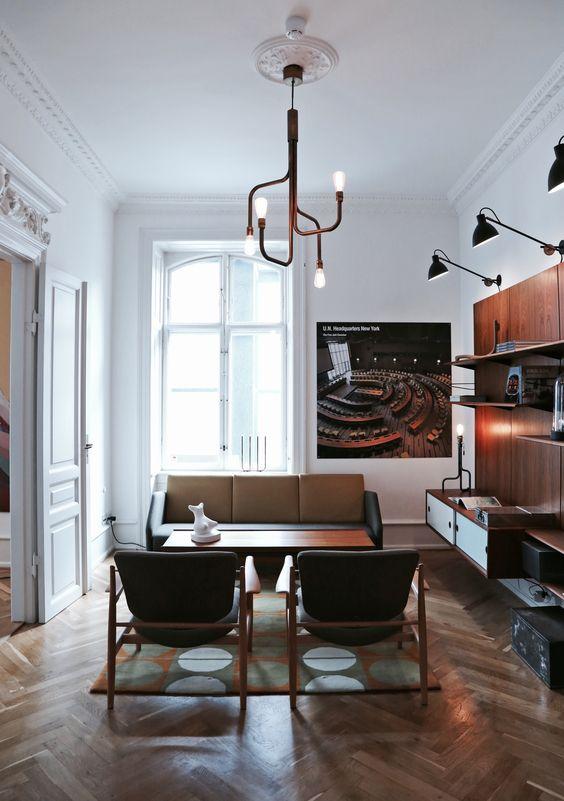creative copper sculptural fixture with bulbs