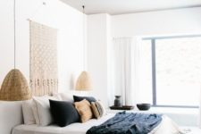 29 wicker lamps give the bedroom a relaxed feel